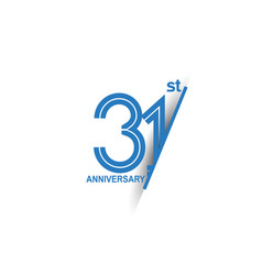 31 anniversary blue cut style isolated on white vector