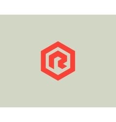 Abstract letter R logotype Line hexagon vector image