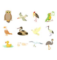 Birds icon set cartoon style vector