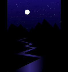 Black mountains silhouettes river starry night vector