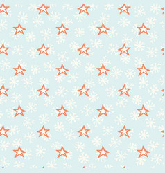 blue and orange christmas winter star snowflakes vector image