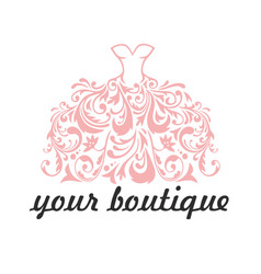 Boutique bridal dress floral logo template vector