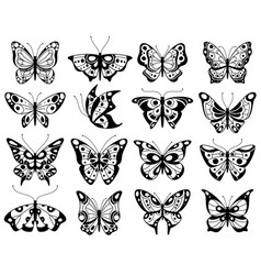 butterfly stylized exotic butterflies silhouettes vector image