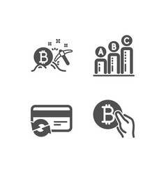 change card bitcoin mining and graph chart icons vector image