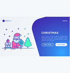 christmas concept with thin line icons santa vector image