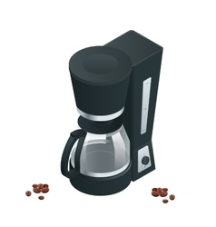 Coffee machine isolated on white Flat 3d vector image