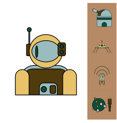 Collection of icons and cosmos technology concept vector