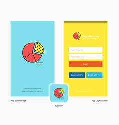 company pie chart splash screen and login page vector image