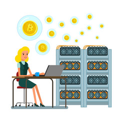 Concept cryptocurrency businessman mining vector