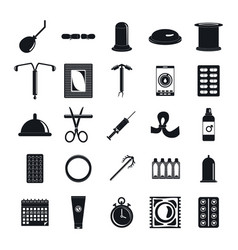 contraception day control icons set simple style vector image