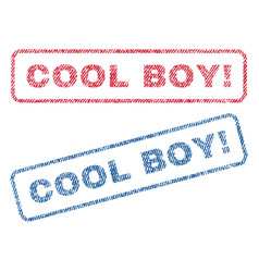 Cool boy exclamation textile stamps vector