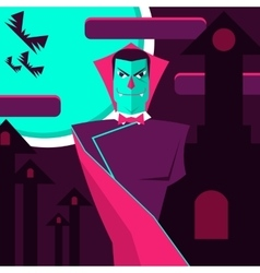 Count Dracula on the background of the castle and vector image