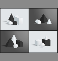 cube cone cuboid sphere various prisms collection vector image