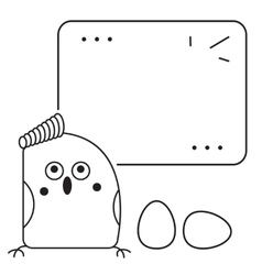 Cute bird thinking vector
