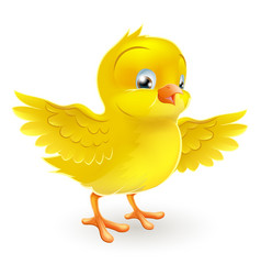 cute happy little yellow easter chick vector image