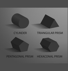 cylinder triangular pentagonal and hexagonal prism vector image