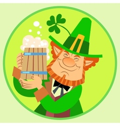 Day Patrick green leprechaun with beer and vector image