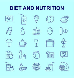 Diet and nutritions icons set vector