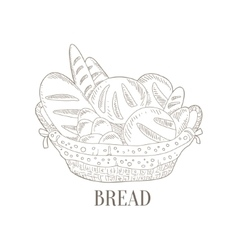 Different Bread In Wicker Basket Hand Drawn vector image