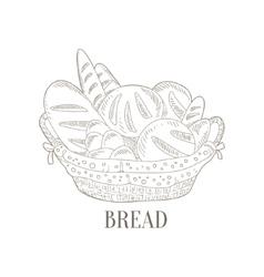 Different bread in wicker basket hand drawn vector
