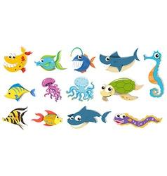 Different kind sea animals vector