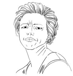 Drawing of angry woman with stylish haircut Black vector