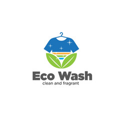 Eco wash laundry logo designs simple modern fast vector