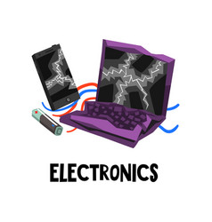 electronic waste or e-waste used battery broken vector image