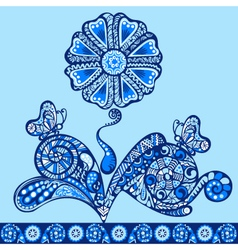 fantasy flower pattern blue vector image
