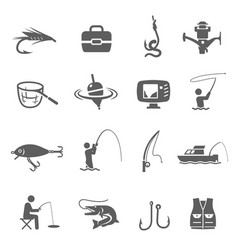 fishing icon set catching fish sport and hobby vector image