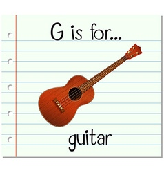 Flashcard letter G is for guitar vector