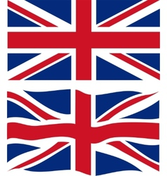 Flat and waving British Flag vector image