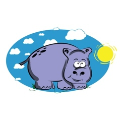 Funny cartoon hippo vector