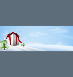 Giant christmas gift banner background vector