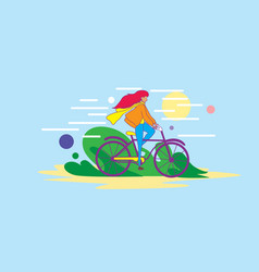 Girl riding bycicle vector