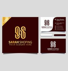 Gold letter ss shoping fasion logo design element vector