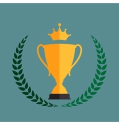 Gold Trophy Cup Winner with a Laurel Wreath and vector image