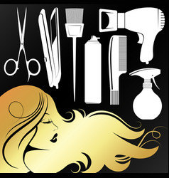 Golden girl profile for a beauty salon vector