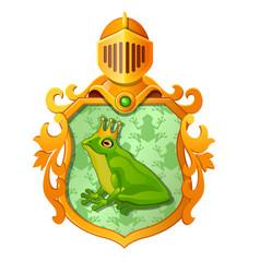 Golden ornate coat of arms or emblem vector