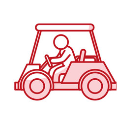 golf car with driver isolated icon vector image