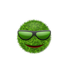 Green grass field 3d face smile with sunglasses vector