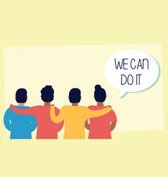 Group people back with we can do it message in vector