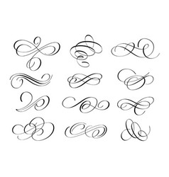 grunge flourishes ink pen calligraphy set vector image