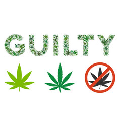 Guilty caption collage of cannabis vector