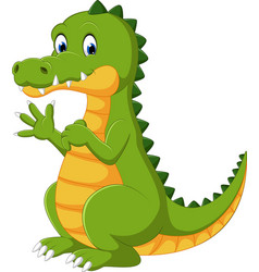 happy fun cute crocodile cartoon vector image