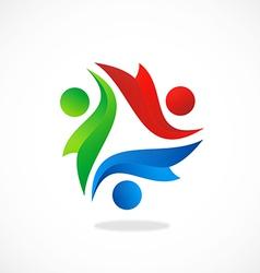 Happy kids diversity logo vector