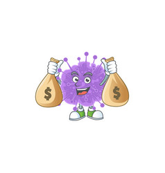 Happy rich coronavirus influenza carries money bag vector
