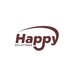 happy solutions text logo vector image
