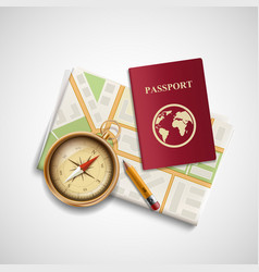 icon city map a compass and a passport trip vector image