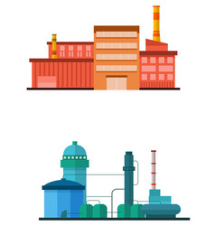 Industrial plant building in flat style vector